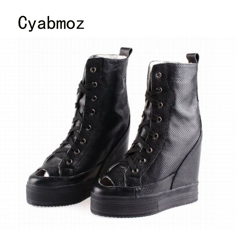Cyabmoz Women High top Lace up Genuine leather Height increasing Peep toe Wedge Ankle boots Ladies Woman Shoes Zapatos mujer modern brief fashion crystal wall lamp bed lighting rustic bedside wall lamp