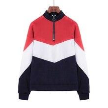 2019 Autumn Winter Casual Sweatshirt Loose Front Zipper Contrast Color Hooded Long Sleeve Womens Tops Streetwear Plus Size S-2XL