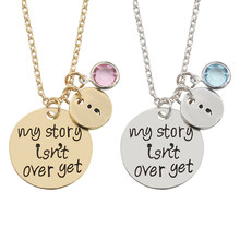 Carved My Story Isn't Over Yet Semicolon Necklace Pink Blue Crystal Bead Charm Pendant Gifts For Women Girl Family Collier Femme(China)