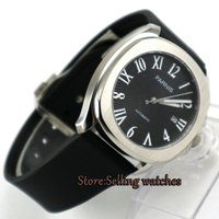 Lujo Marca PARNIS negro dial Reloj Mecánico Automático de Los Hombres Fecha Reloj Automático Para Hombre correa de caucho Reloj del relogio