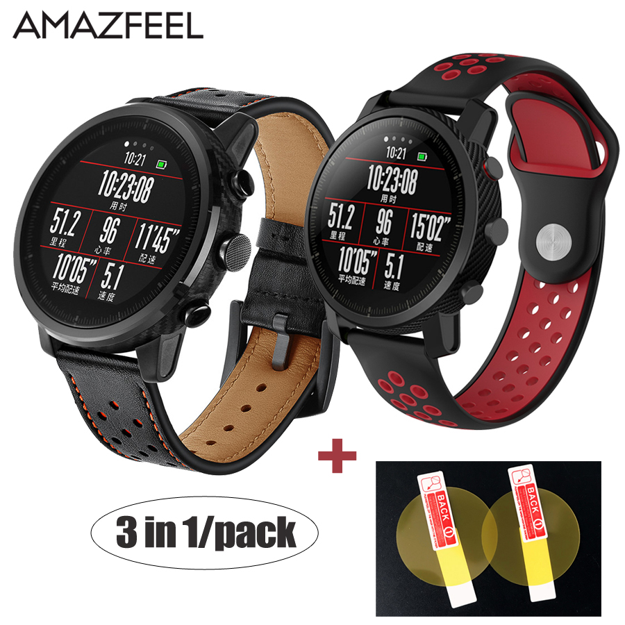 3in1/Pack Watch Band for Original Xiaomi Huami Smart Watch Amazfit Stratos 2 Amazfit 2 Pace Strap Leather Wrist Band 22mm Belt camo silicone watch band strap for xiaomi huami amazfit pace 22mm smart watch camouflage replacement wrist band strap bracelet