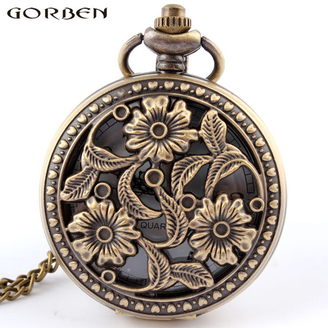 Bronze hollow flower and leaves antique quartz pocket watch retro style unisex q