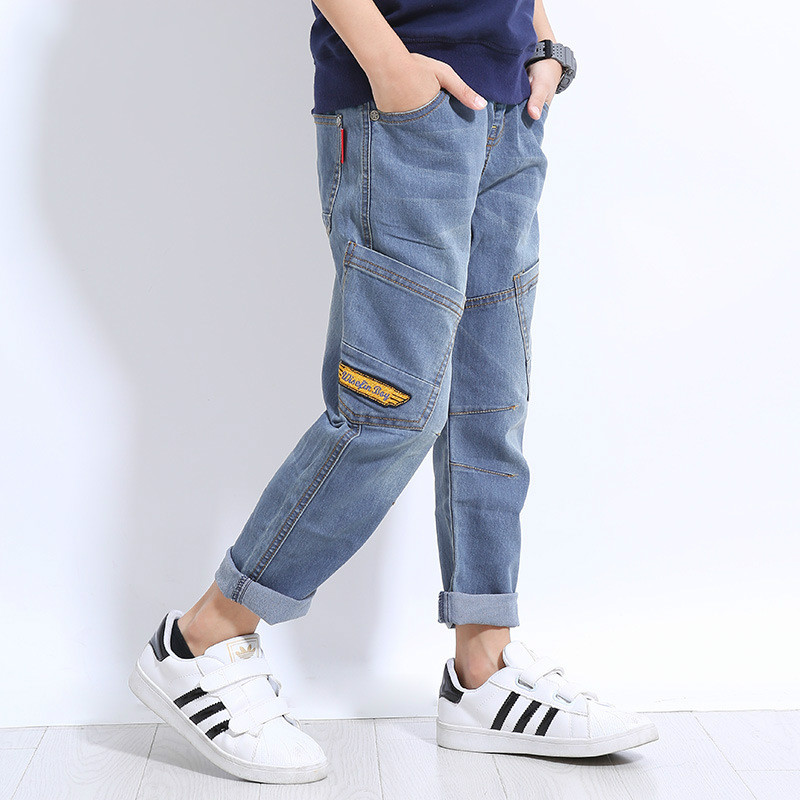2018 Spring New Fashion England Style Boys Jeans Top Quality Elastic Waist Pattern Straight Pants Kids 5 7 9 11 13 15 Years Old