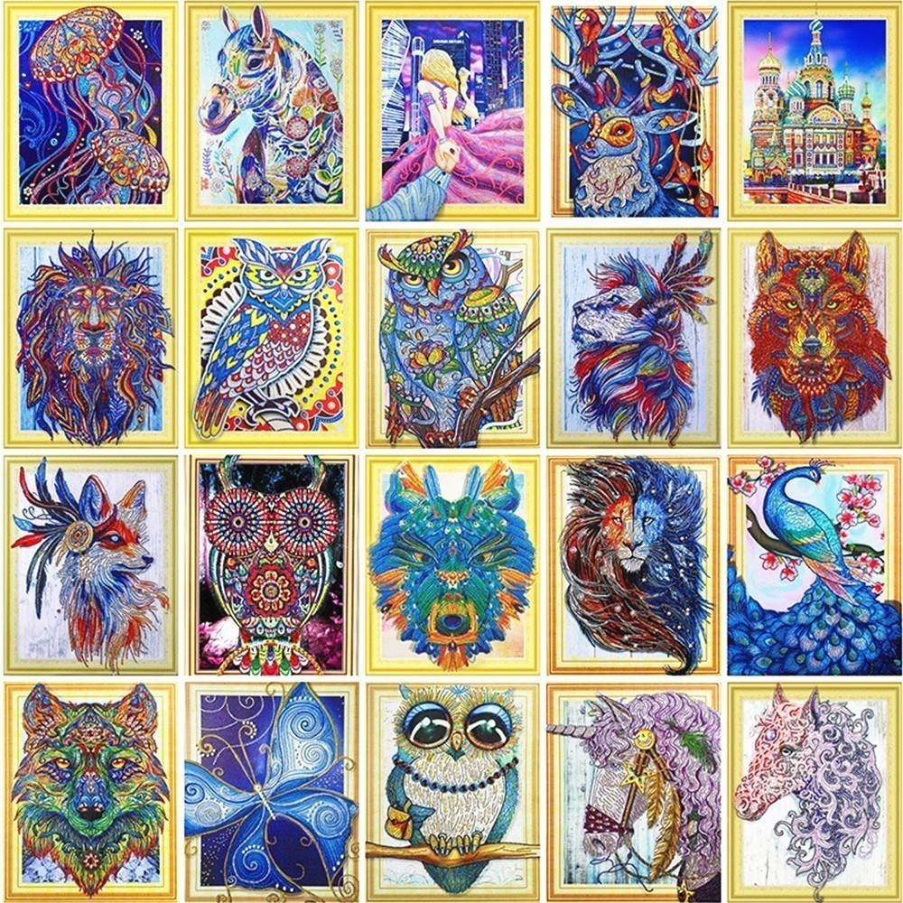 HUACAN-5D-DIY-Special-Shaped-Diamond-Painting-Cross-stitch-Diamond-Embroidery-Animals-Picture-Of-Rhinestones-Home
