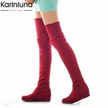 KarinLuna/Большой размер 34-47, модные ботфорты женская повседневная обувь на меху осень-зима женские ботинки