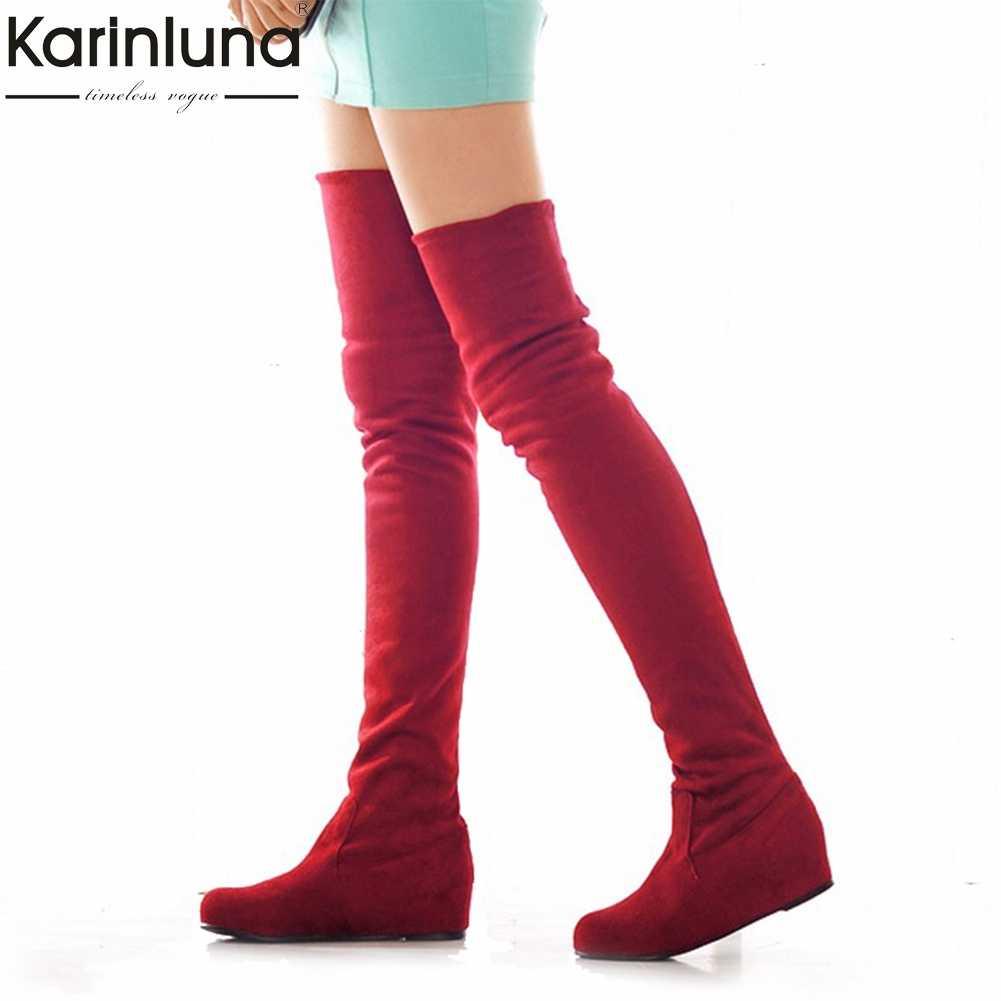 KarinLuna büyük boy 34-47 moda aşırı diz çizmeler kadın eklemek kürk sonbahar kış rahat kadın ayakkabısı kadın bayan botları
