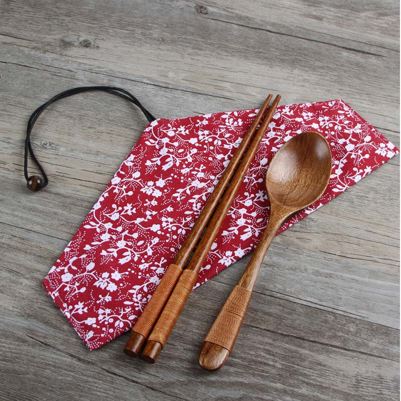 Tableware Gifts 3pcs Dinnerware Sets Kitchen Supplies Bento Box Accessories Cloth Bag Wood