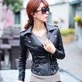 Черный овчины натуральной кожи куртка женщин короткие мотоцикл кожаная одежда весна женский корея косой молния дизайн Куртка