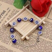 New blue evil eyes bracelet Charms Bracelets for men  zinc alloy rhinestone blue Lucky erotic eye Turkish bracelet for women  цена 2017