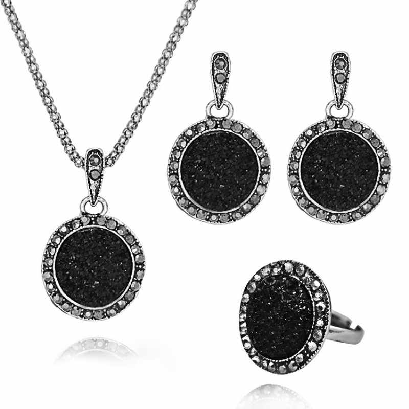 NK104 Vintage Black Gem Jewelry Set Fashion Women Wedding Jewelry Set Crystal Round Stone Pendant Necklace Earring Ring Sets