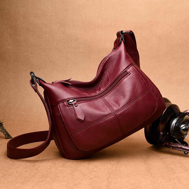 Alta qualidade de couro genuíno bolsas femininas all-match ombro crossbody sacos senhora mensageiro saco grande tamanho hobos
