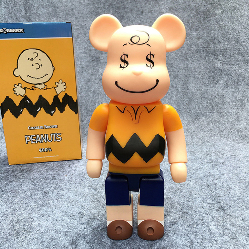 New Arrival 400% Bearbrick Peanuts Charlie Brown LUCY Be@rbrick PVC Action Figure In Retail Box WMQ01 bearbrick be rbrick 400% 28cm milky lucky cat pvc vinyl art figure with retail box