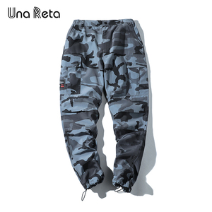 Image 2 - Una Reta pantalon de Camouflage pour homme, tenue Cargo, Streetwear, pantalon Long pour homme, style Hip Hop, taille élastique, collection décontracté