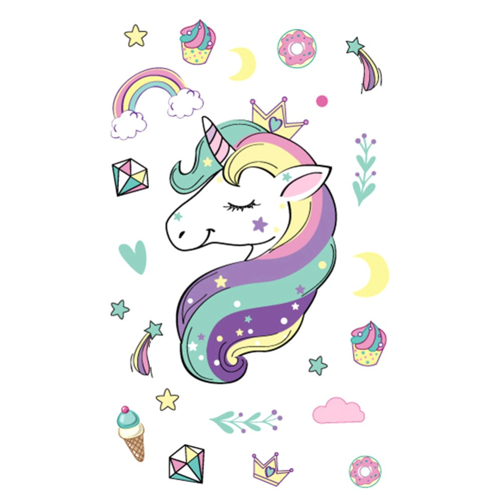 Waterproof Unicorn Temporary Stickers Fake Tattoos Toy For Children Kids Girls Boys Adults Party Supplies Rainbow Horse Sticker
