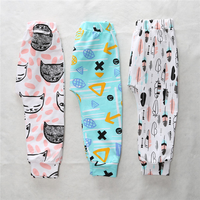 XK-1210  Boys Pants Children Pants Animal Character Geometry Print Harem Pants Baby Girls Leggings Loose 2017 New Desginer