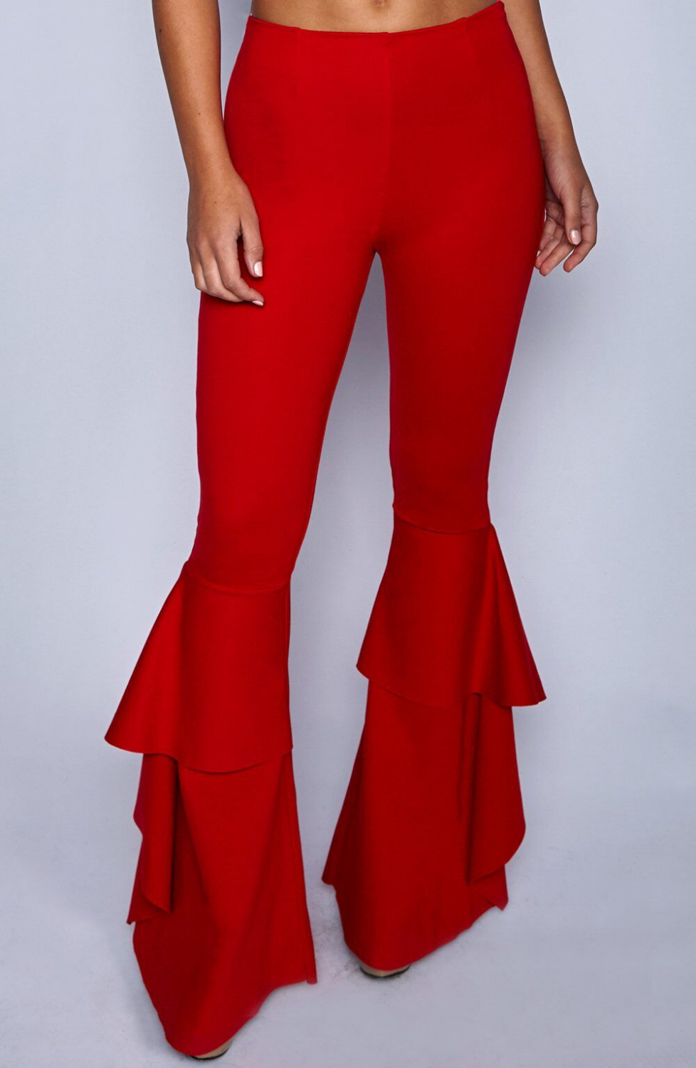 Hippie Women Enthusiastic Red Ruffles Slim Flare Pants Elastic Bottom 2018 Fashion Summer New Wide Leg Trouser Elegant Clothing in Pants amp Capris from Women 39 s Clothing