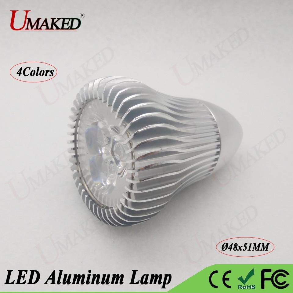 2pc 3w 9w Led Alumimun Lamp Head Blub Lights Base Case Kit M8 Spotlight Lamp Mount With Heat Sink Pcb Plate+lens Free Shipping