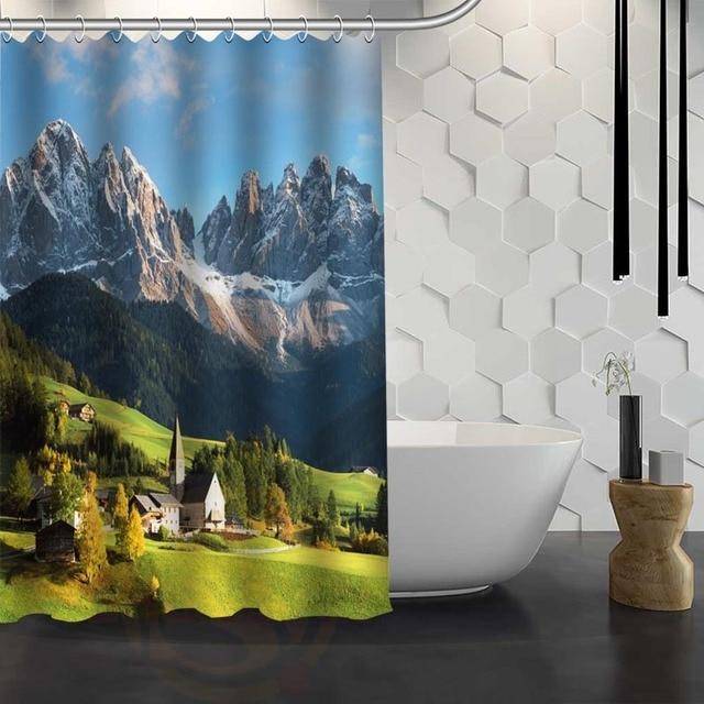 mountain scenery Shower Curtain Pattern Customized Shower Curtain ...