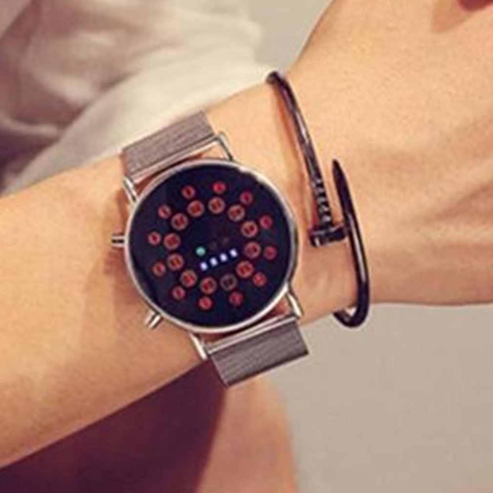 جديد رقيقة جدا Led الكرة ووتش طالب Led ووتش النسخة الكورية من ساعة رجالي شخصية الاتجاه الأزياء شبكة حزام ووتش