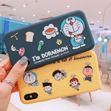 Japan cartoon Doraemon Nobita colored drawing soft candy matte TPU back cover for iphone 6 6s 7 8 plus X Xs Max XR Phone Case
