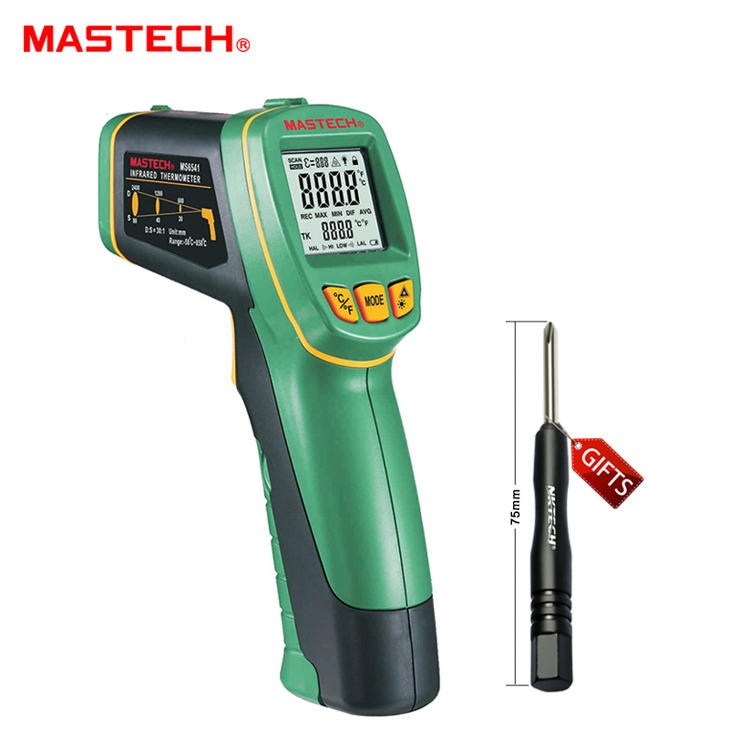 1pcs MASTECH MS6541 Handheld Non-contact Infrared Thermometer Point Temperature Gun -50C~760C with K-type Temperature цена и фото