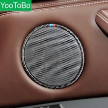 Car Styling Carbon Fiber Car Audio Speaker Car Door Loudspeaker Trim Ring Sticker For BMW X5 X6 F15 F16 E70 E71 Accessories
