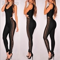 New Arrival Summer Stretch Sleeveless Cross Over Bandage Jumpsuit Sexy Women Bodycon Vestido Bandage Clothing Night Clubwear
