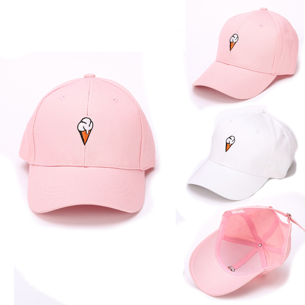 2017 Spring Women's Cap Pink ice cream Embroidery Dad hat Men's Summer Baseball Caps Hip Hop hats For Girls Casquette Homme chic ice cream color suede baseball hat