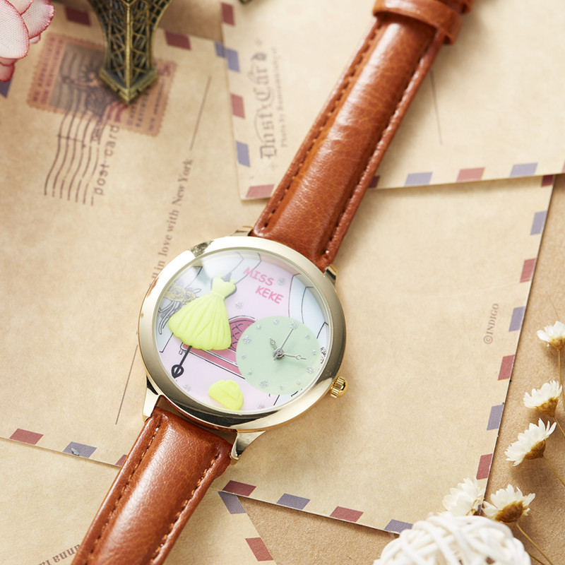 Orz Miss Keke 3d Clay Cute Yellow Feestjurken Horloges Relogio - Dameshorloges - Foto 5
