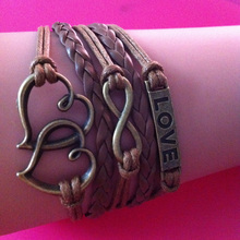 Infinity bronze charms double heart love wrap link bracelet coffee wax cord intertwining 2014 new fashion jewelry