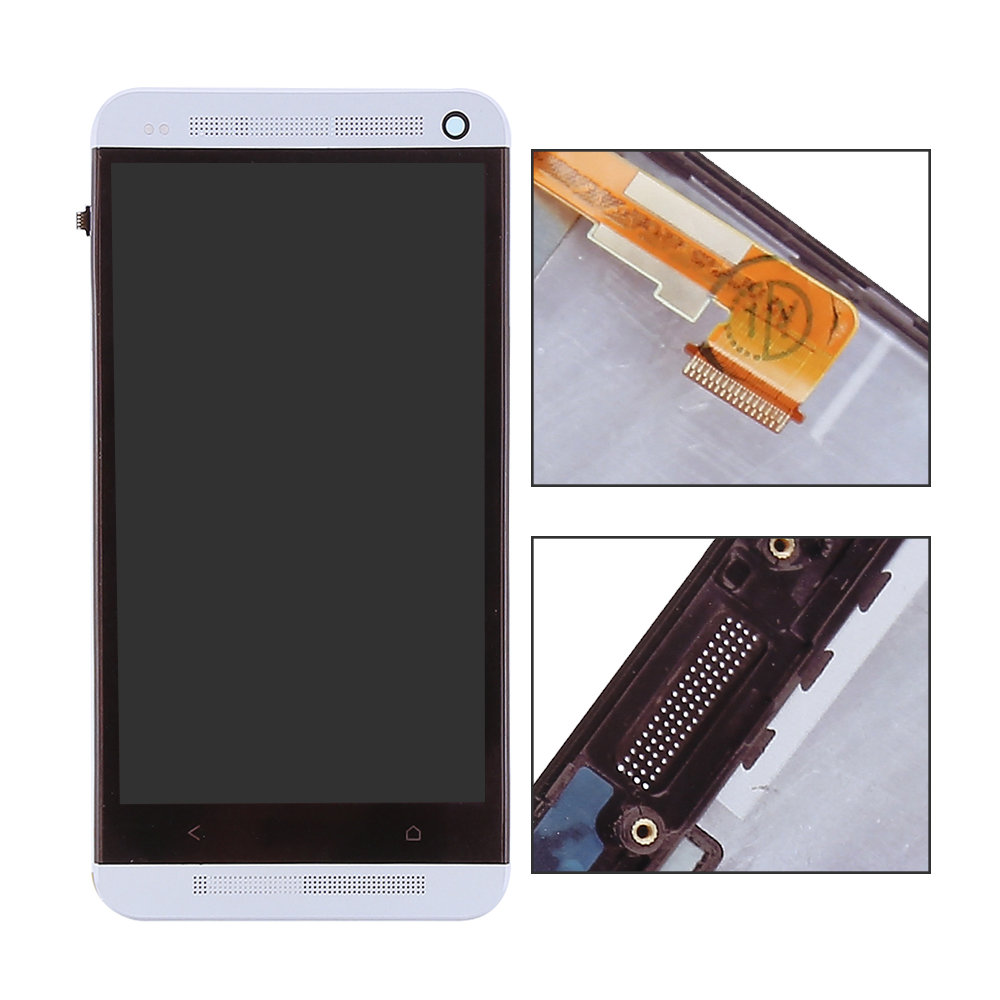 imágenes para Plata Para HTC Uno M7 pantalla LCD de pantalla táctil con digitalizador + Bisel Marco Completo Aassemble, envío Gratis + Tracking No.