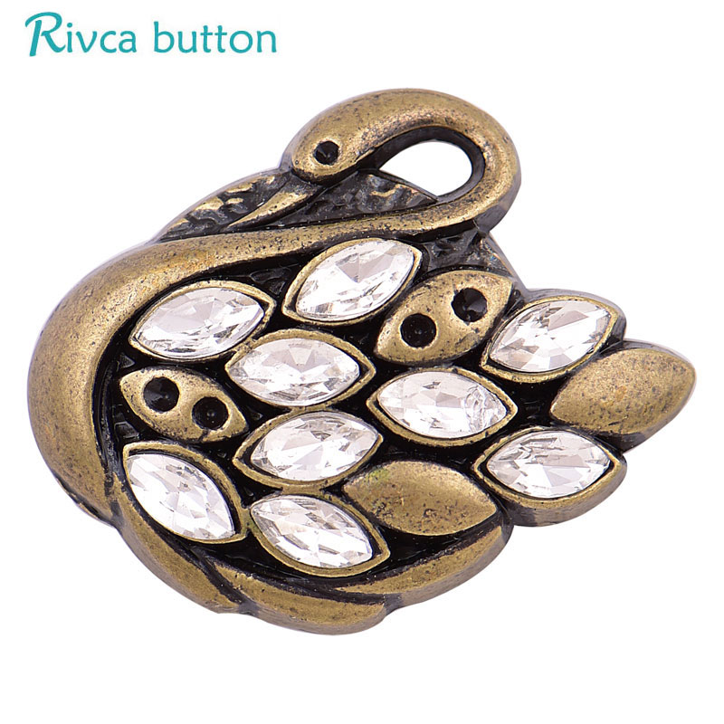D04118 Rivca Mixed Snap Button Jewelry DIY 18mm swan lion tiger frog wolf fish Snap Button High Quality Fit fashion Bracelet
