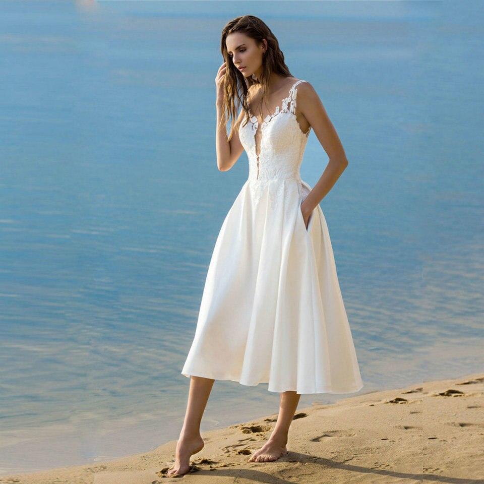 Image 2 - Elegant Short Wedding Dress 2019 Wedding Gowns Women Bohemian Lace Stretch Fabric Zipper Tea Length Beach Bridal Party Dresses-in Wedding Dresses from Weddings & Events