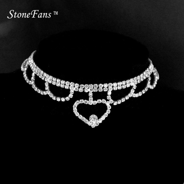 StoneFans Heart Shaped Chocker Chain Heart Austrian Crystal Gold Color  Heart Pendant Necklace For Valentine s Day 3eea980de748