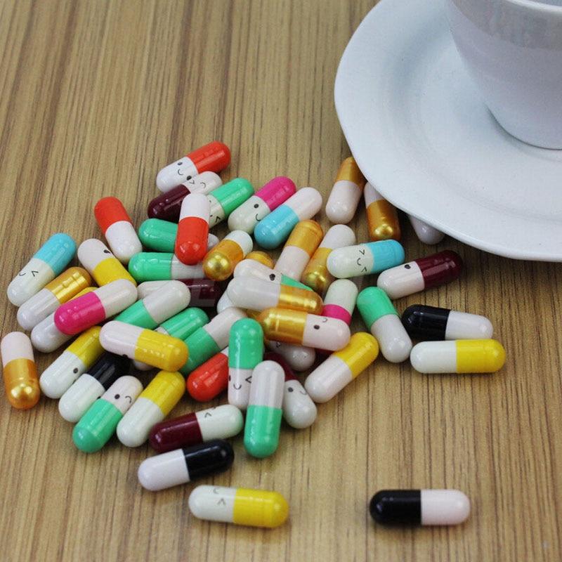 50pcs Creative Love Pills Gift Rolls Pills Lucky Wishing Bottle Capsule Love Letterhead Stationery Paper Envelopes Random Color