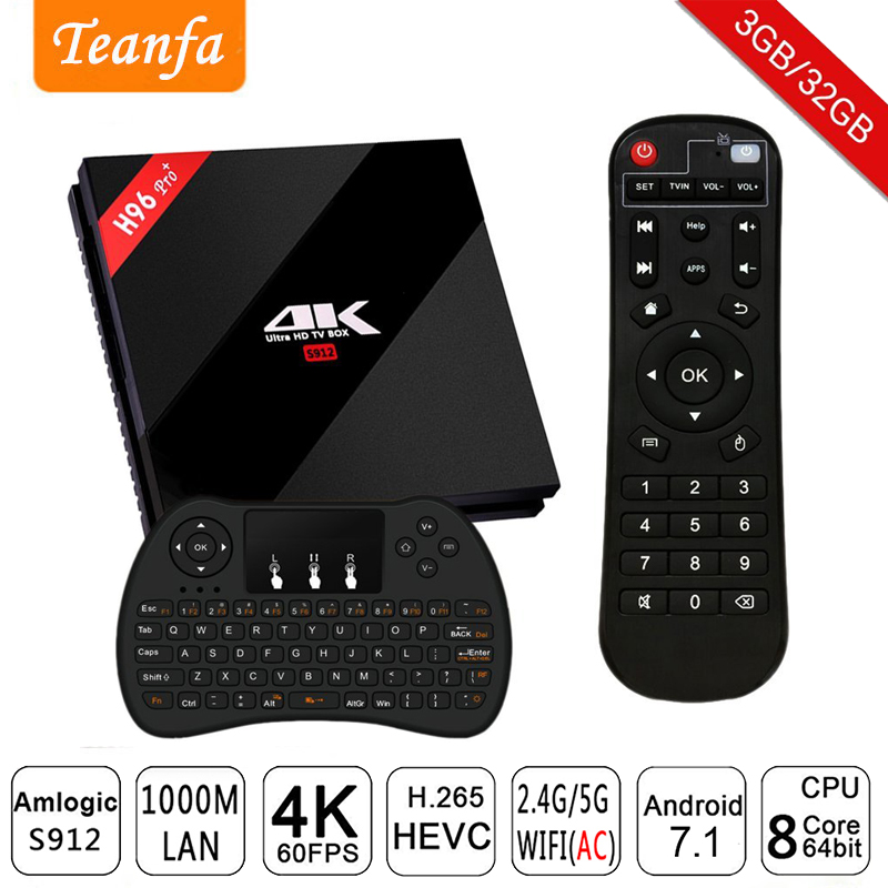H96 Pro+ Amlogic S912 Octa Core Android 7.1 Smart TV Box 3G RAM 32G ROM Set Top Box 2.4GHz 5.0GHz WiFi 4K Media Player BT 4.1 максисвет бра максисвет design текстиль 3 6557 1 bksyn e14