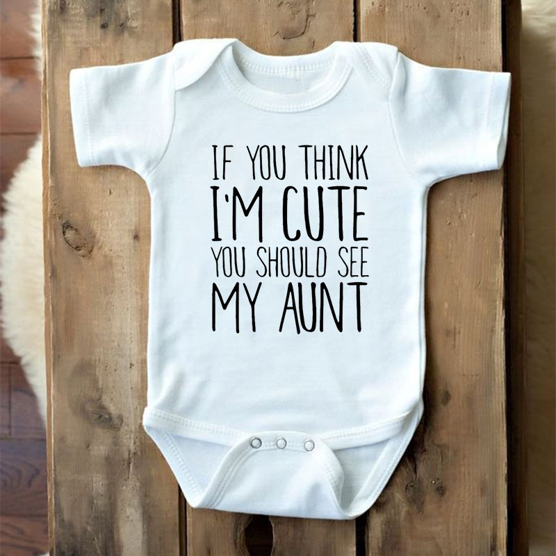 DERMSPE Baby Outfits Romper Think My Aunt Newborn Boy Short-Sleeve Girl I'm Letter If title=