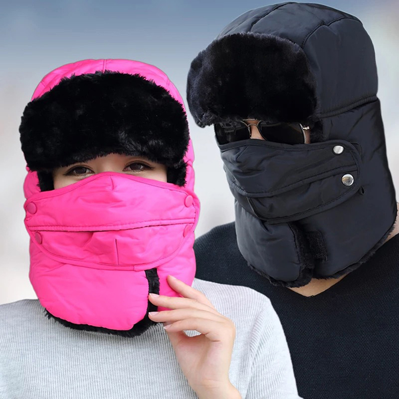 1 Stück Hut Männer Frauen Caps Schal Russische Trooper Earflap Schnee Ski Hut Kappe Mit Fack Maske Trapper Thermische Winter Warme Bomber Hüte