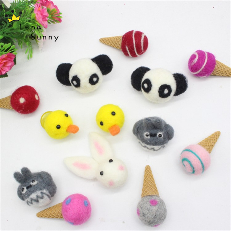 20 Pieces/Lot 3-6cm Mini Wool Felt DIY Totoro Panda Cat Icecream Plush Toy,Handmade Wool ball jewelry Hair Accessories Doll