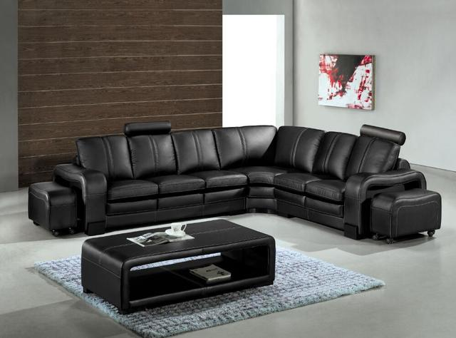 Sofá moderno con cuero genuino sofá seccional para salón sofá ...