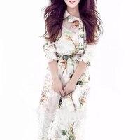New 2017 Chiffon Maxi Dresses Women Long Sleeve Gorgeous Flower Printed Bohemian Brand Style Dress Vestidos