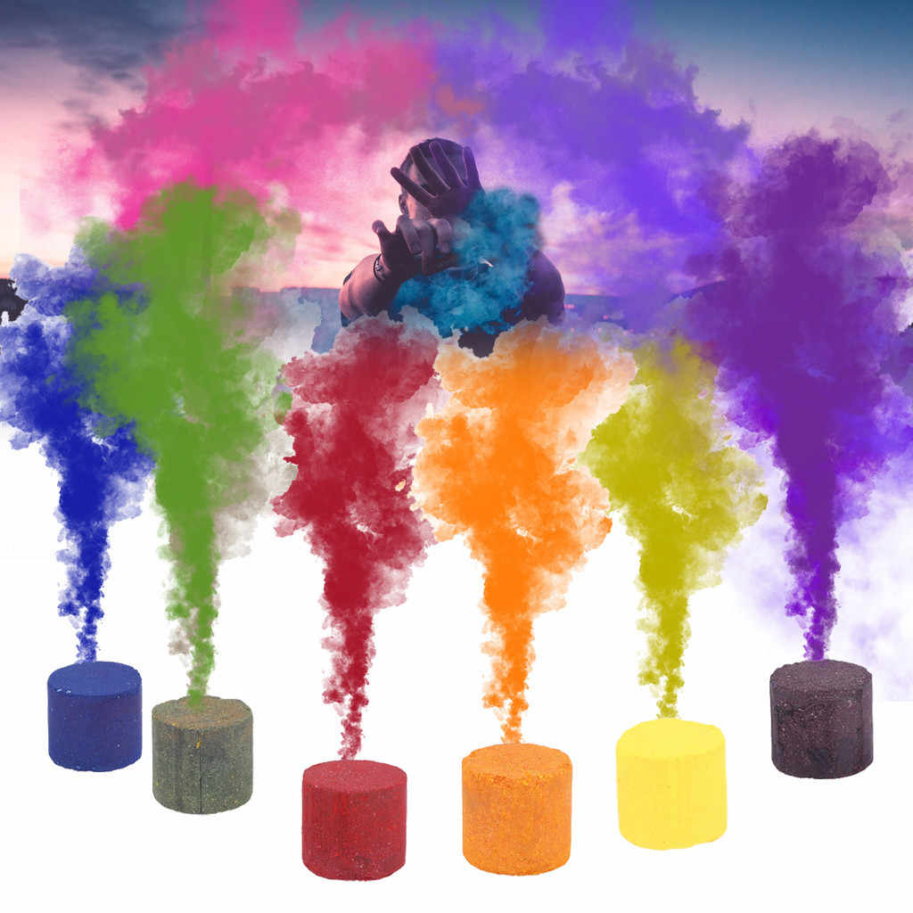 AJooED 5Pcs Smoke Cake Round Colorful Fog Effect Maker Stage Show Photography Film Background Filmmaking Photo Shooting Special Effect Props Photography Halloween Aid Toy Party Props Blue,5pcs