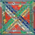 2016 sincrónica amuleto cadena de Metal anillo de mosaico señora de la historieta Twill de seda bufanda cuadrada