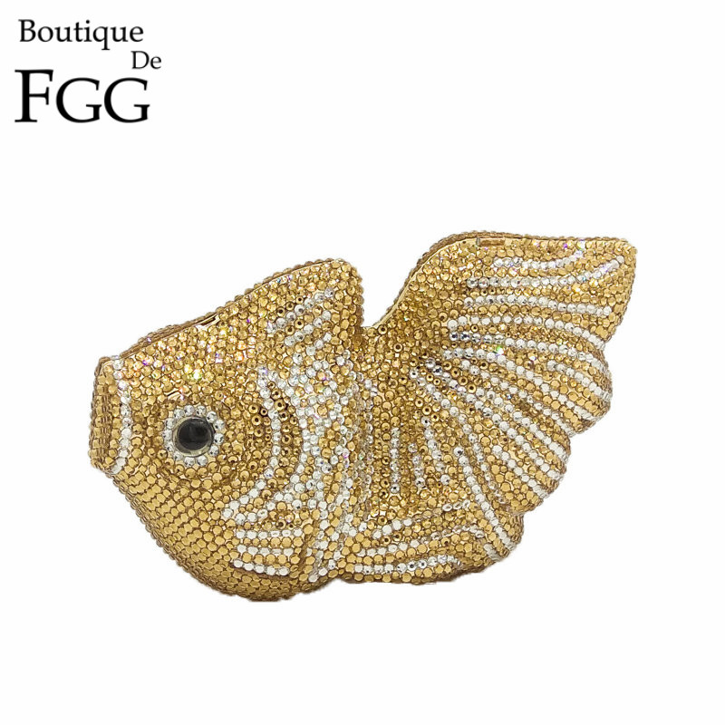 Dazzling Orange Goldfish Crystal Clutch Evening Bags Women Mini Metal Hard Case Wedding Clutches Party Bridal Handbags Purses golden crystal diamond rabbit women evening clutch bags bridal wedding dress handbags shoulder purses hard case metal clutches