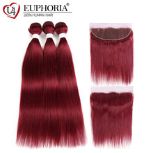 Lace Frontal With 99J/Burgundy Red Color Straight Human Hair Weaves 2/3 Bundles EUPHORIA Brazilian Remy Hair Weft With Closures(China)