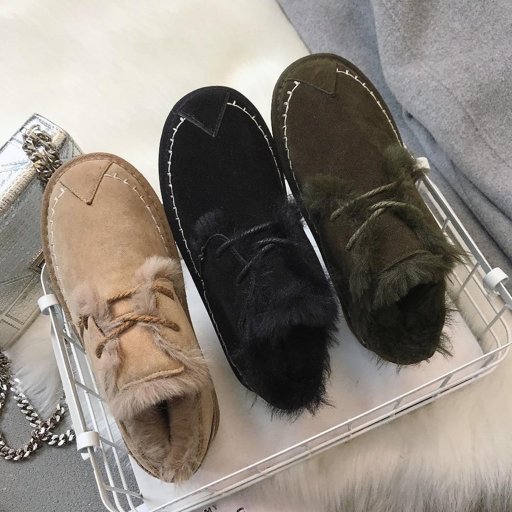 up kaki Femmes De Dentelle Fourrure D'hiver Lacent Chaussures Talons Phyanic Automne Chaudes Plate Femme vert Doux Daim Mode Bas Plat 2018 Noir forme 4q08B