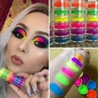 6colors/set Neon Pigment Nail Powder Dust Ombre Nail Glitter Fluorescent color Powder Nail Polish Dust UV Gel Nail Decorations