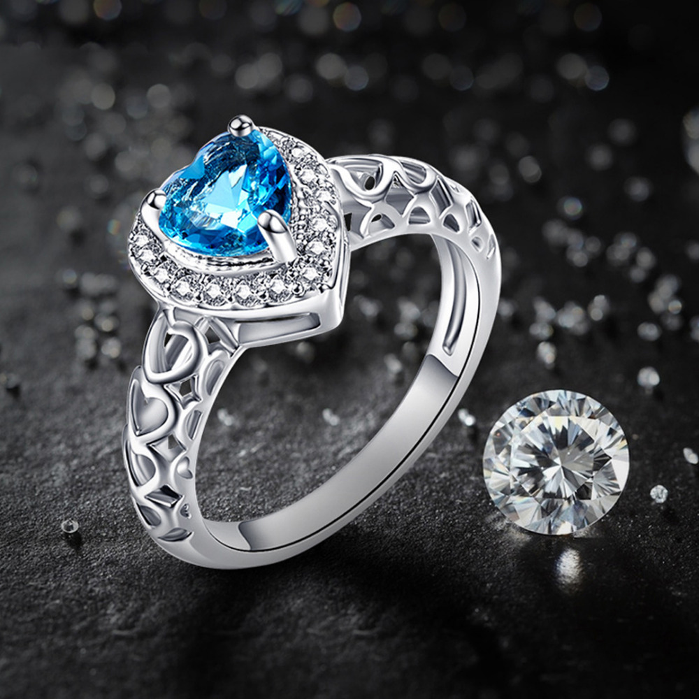 JROSE Engasjement Heart Cut Hot Blue & White CZ Silver Color Ring Size 6 7 8 9 10 11 12 Engros bryllupsgave til kvinner Ring