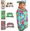 2017 Новорожденный ребенок пеленальный одеяло и оголовье установить цветочные детское одеяло новорожденный фотографии реквизит муслин ребенка пеленать обертывание