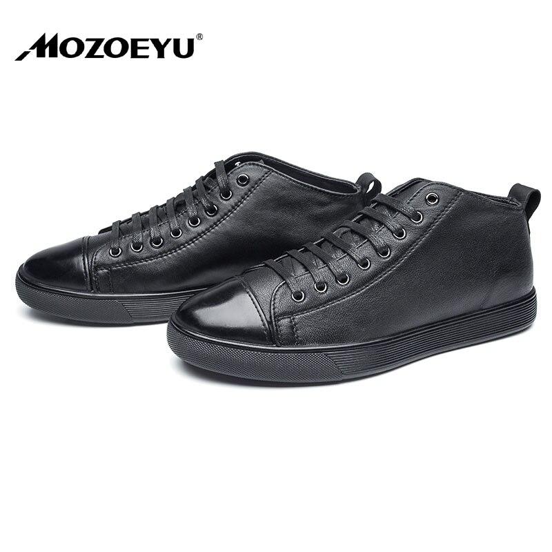 Prix pour MOZOEYU Hommes Véritable Chaussures de Sport En Cuir Noir Designer Italien Chaussures Heigh-croissante En Plein Air Sneakers Skate Chaussures Blanc Coréen